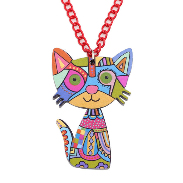 Cat Fashion Long Polycolor Acrylic Necklace Pendant