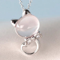 Cat Lover Necklace Silver Plated Water Wave Chain Pendant Jewelry - masterwaygems