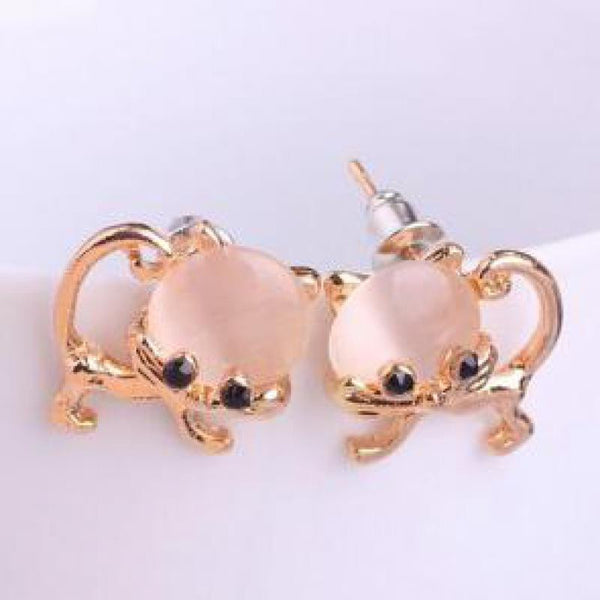 Cat Crystal Opal Pink Earrings Jewellery
