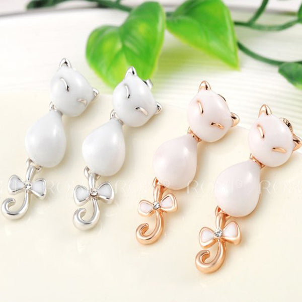 Cat Lover Fashion Earrings Gold Plated White Oil Drip Austrian Crystal Jewelry
