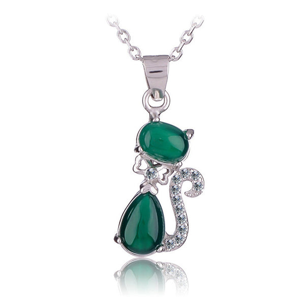 Cat Lover Necklace 925 Sterling Silver Natural Green Agate Stone Jewelry