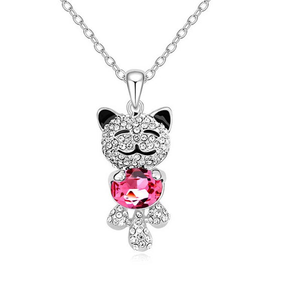 Cat Lover Necklace Austrian Crystal Gemstone Pendant Jewelry
