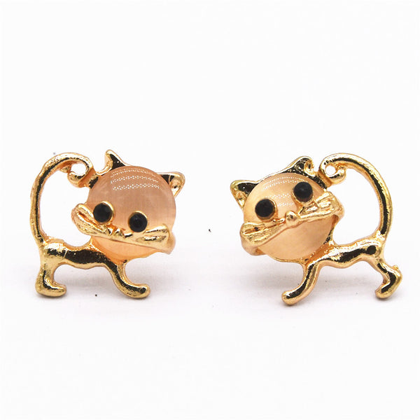 Cat Earrings Quality Gold Plated Opal Studs