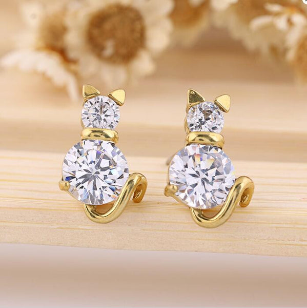 Cat Earrings Gold Plated Crystal Clear Zircon Anti-Allergic Jewellery