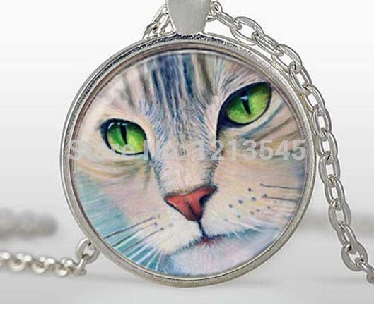 Cat Lover Fashion Glass cabochon silver jewelry