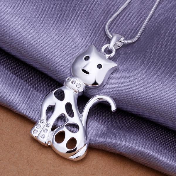 Cat Lovers Necklace Pendant in Sterling Silver with Cubic Zircon