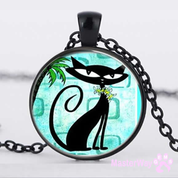 Cat Black Cat Necklace Glass  Cabochon Silver Art Jewellery