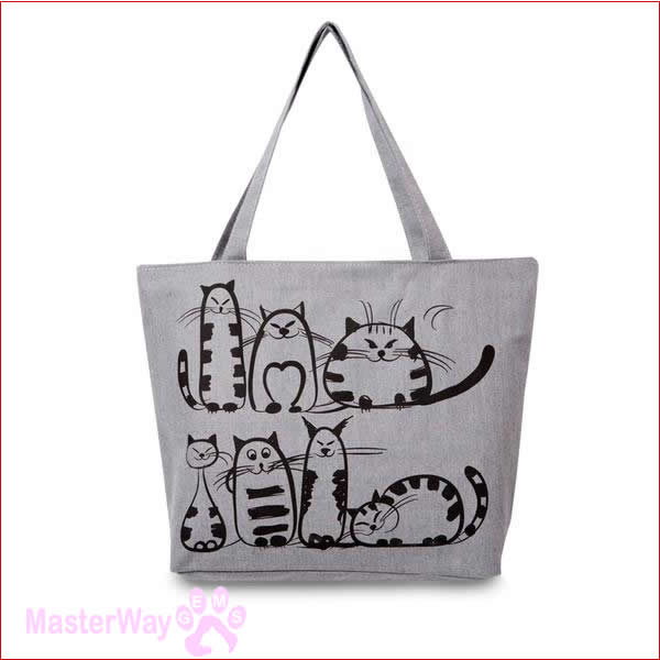 New Arrival Cat Theme Printed Casual HandBag for Ladies