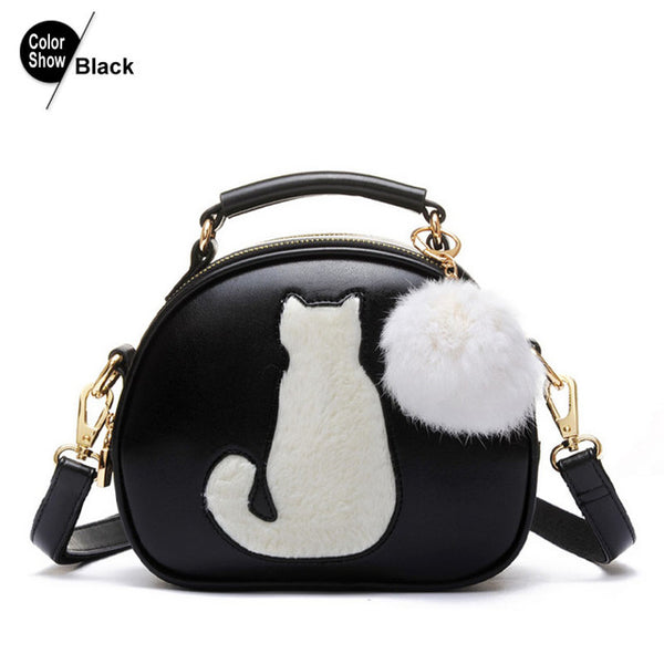 New Arrival Women's Crossbody Handbag in PU Leather and Fur Ball