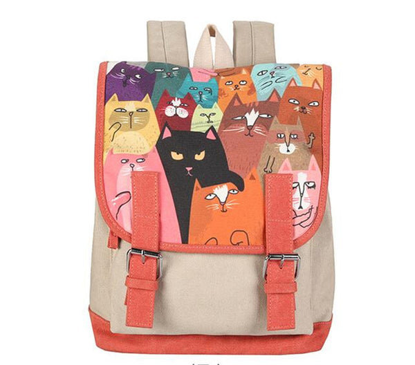 Canvas Backpack Double Belt Cartoon Cat Printing