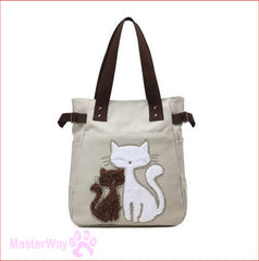 New Arrival Printed Canvas Cat theme Handbag for Ladies