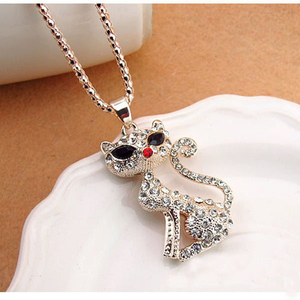 Cat Lover Necklace Gold Plated Rhinestones Jewelry