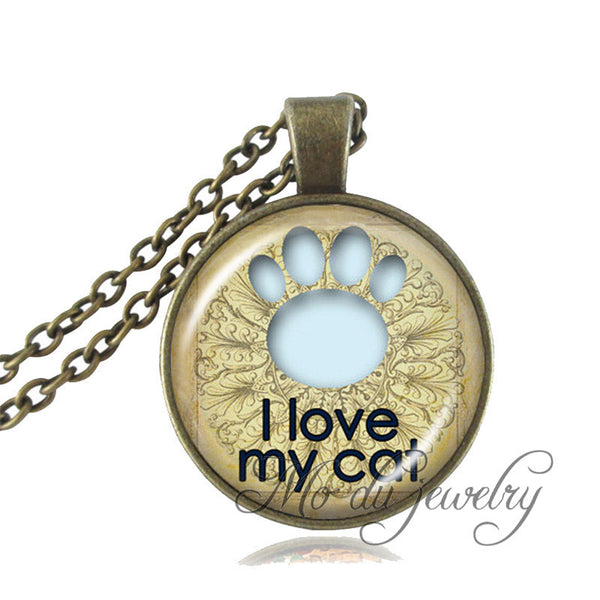 Cat Paw Necklace Glass Cabochon Paw Print Bronze Chain Necklace