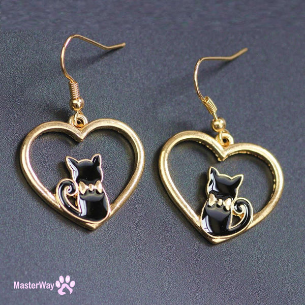 Lovely Heart Black Kitty Cat Earrings