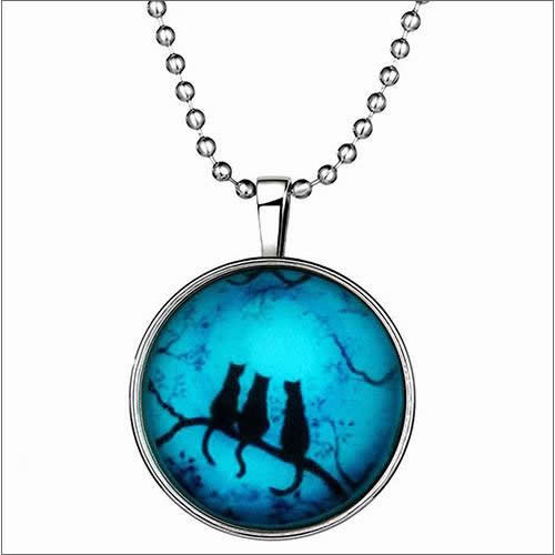 Three Cats Glow in The Dark Pendant Charm Necklace