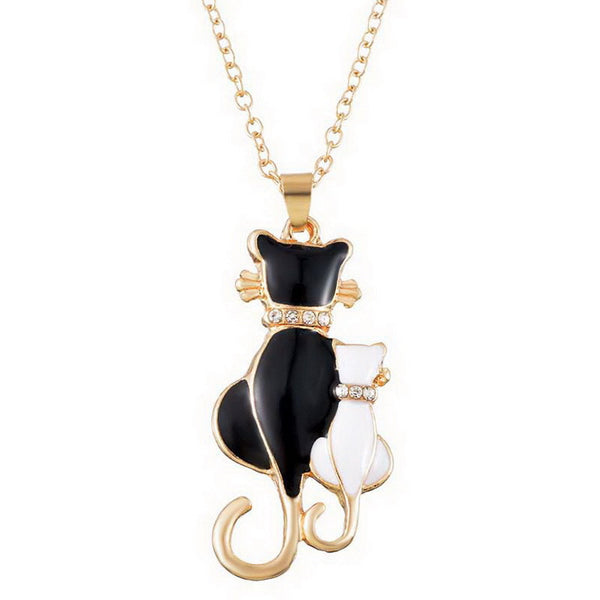 Two Cats gold plated Pendant Necklace Jewellery