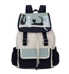 multicolor cat backpack in high quality polyester suitable for school or travel