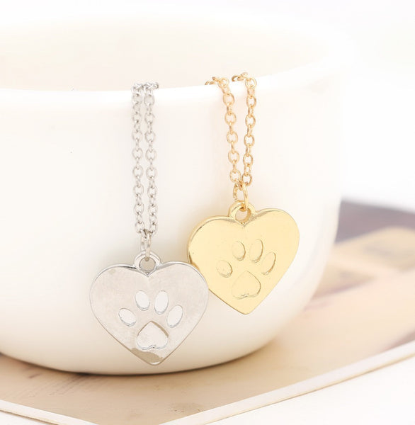 Cat lovers Heart Paw Pendant Necklace in Gold or Silver
