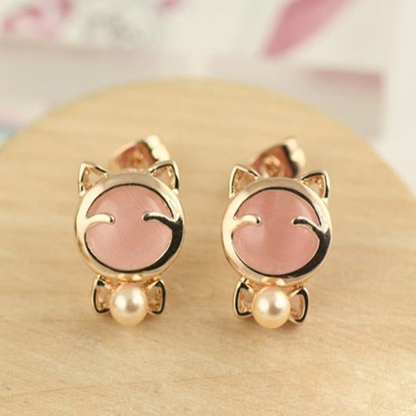 Cat Lover Fashion Earrings Silver Pop Pear Stud Jewelry