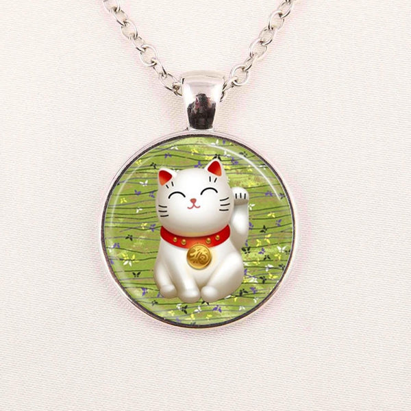 Cat Glass CabochonDome Pendant Necklace Jewellery