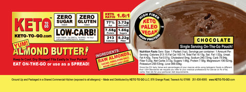 Chocolate Almond Butter ON-THE-GO Pouches by KETO TO GO