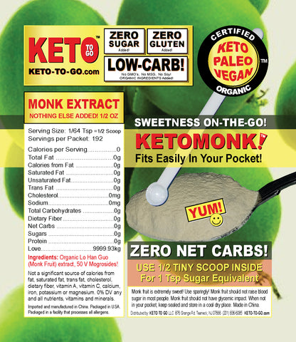 KETO MONK Sweetener ON-THE-GO Pouch with Scoop by KETO TO GO!