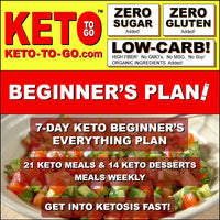 7-DAY KETO BEGINNER's EVERYTHING PLAN (21 Keto Meals & 14 Keto Dessert-meals weekly)