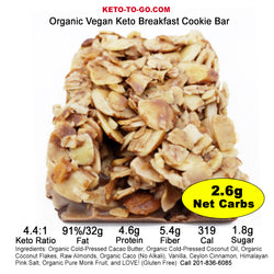 KETO BARS ~ SAMPLER 4-Pak  (Organic, Low Carb & Vegan!) TRY US!
