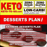 EXTREME DESSERTS PLAN (45 Servings) Eat Dessert Meals and Keto Pizzas: All Day Every Day! Five-Six Keto-Dessert-Meals equal 12-18 Net Carbs Daily
