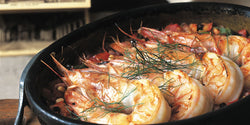Organic Farmed Jumbo Shrimp Floating in Bed of Butter and Herbs
