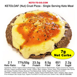 KETOLOAF (Nut) Crusted Pizza -  Single Serving Keto Meal