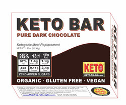 Keto Meal Bar~ Pure Dark Chocolate FAT BOMB! - (Organic, Vegan, Keto & Raw!) 4 Thin bars per box