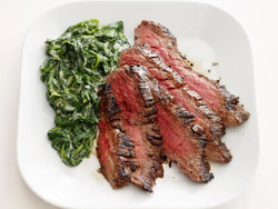 Sliced Filet Mignon with our Almond Butter Creamed Spinach and Mushrooms