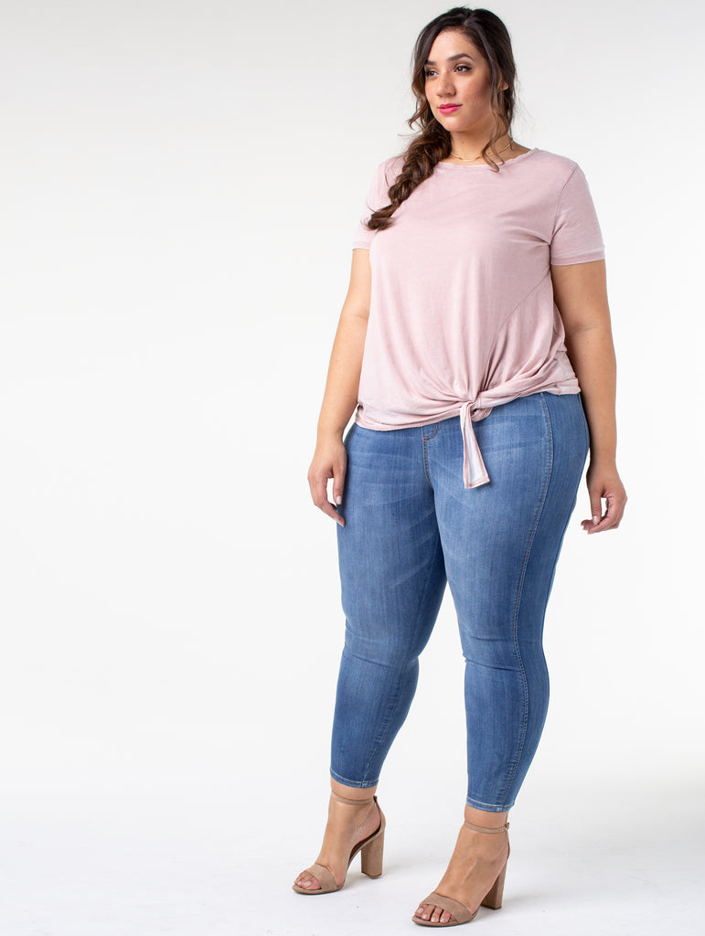 ad5d7ba1bf3f7 Slimming Side Panel Pull On Skinny Jeans