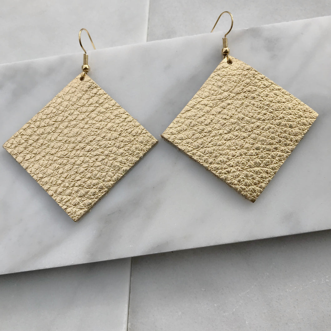 Gold Diamond Shaped Leather Earrings