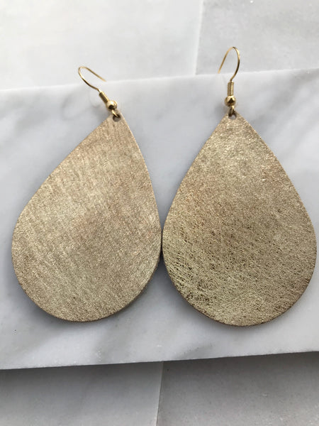 Brushed Gold Teardrop Earrings