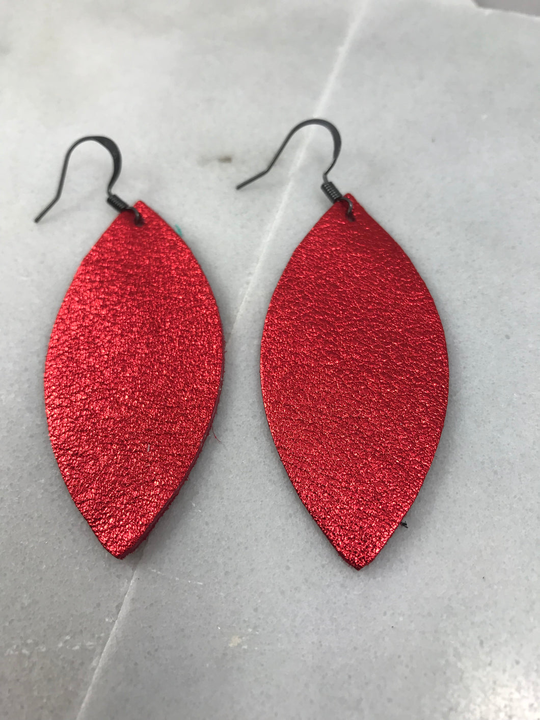 Red Almond Shaped Leather Earrings