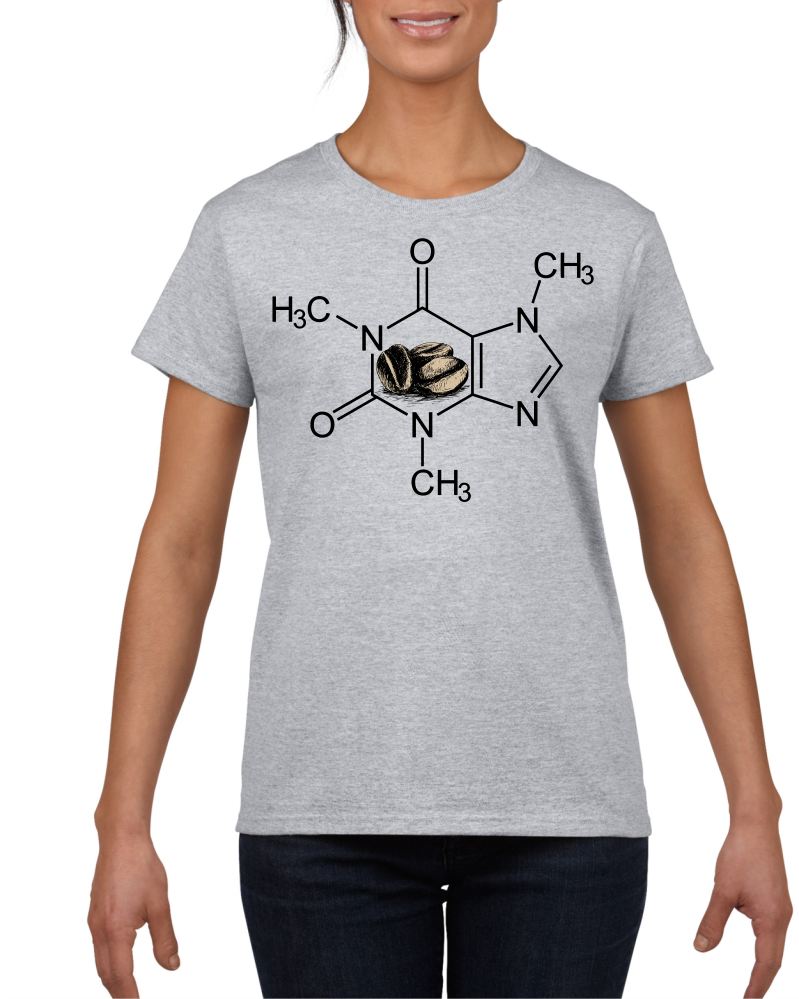 Caffeine Molecule Light Grey Cotton Women's T-Shirt