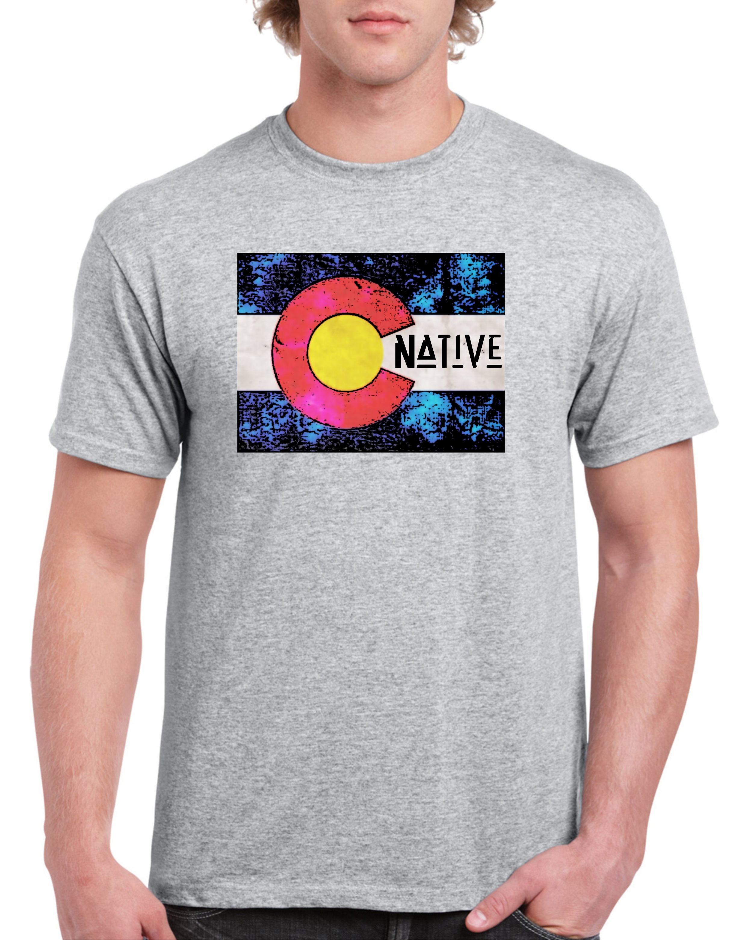 Native Colorado Flag Light Grey Cotton  Men's / Unisex T-Shirt