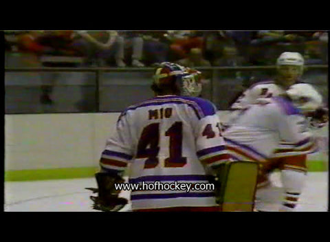 March 27, 1983 Washington Capitals - 4 @ New York Rangers - 5 Eddie Mio Ron Duguay Barry Beck