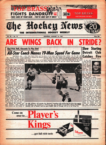 January 14, 1967 The Hockey News Volume 20 No. 14 Bobby Hull Roger Crozier Rod Gilbert Dean Prentice