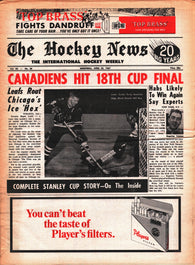 April 22, 1967 The Hockey News Volume 20 No. 28 Terry Sawchuk Rogie Vachon Montreal Canadiens