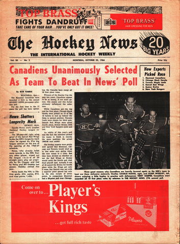 October 22, 1966 The Hockey News Volume 20 No. 2 Montreal Canadiens Gump Worsley Gordie Howe