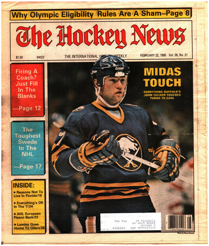February 22, 1985 The Hockey News Vol. 38 No. 21 John Tucker Dave Lumley Olympics AHL