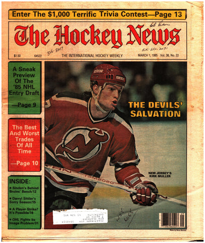 March 1, 1985 The Hockey News Vol. 38 No. 22 Kirk Muller Darryl Sittler Harry Sinden Entry Draft
