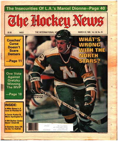 March 22, 1985 The Hockey News Vol. 38 No. 25 Wayne Gretzky Marcel Dionne Bill Barber Keith Acton