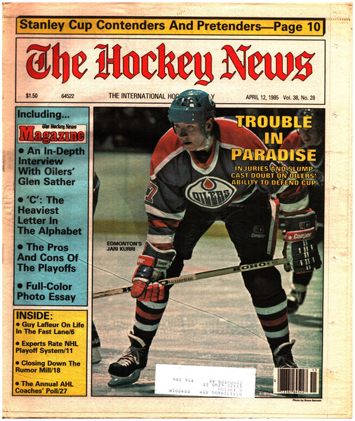 April 12, 1985 The Hockey News Vol. 38 No. 28 Jari Kurri Guy Lafleur Glen Sather NHL Playoffs