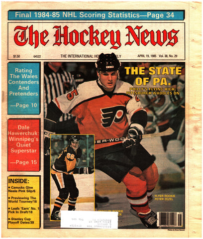 April 19, 1985 The Hockey News Vol. 38 No. 29 Mario Lemieux Peter Zezel Dale Hawerchuk Harry Neale