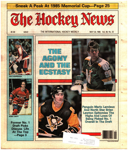 May 24, 1985 The Hockey News Vol. 38 No. 32 Mario Lemieux Brian Lawton Bobby Smith Dale Hawerchuk