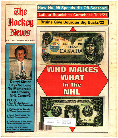 September 6, 1985 The Hockey News Vol. 38 No. 38 Wayne Grezky Ron Francis Bryan Trottier Ray Bourque